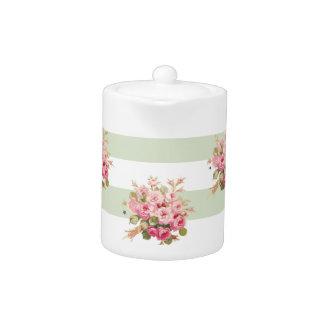 ジェーンのばら色の花束のベズルのストライブ柄の小さいティーポット