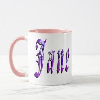 ジェーンの名前、ロゴ、ピンクのコンボのコーヒー・マグ マグカップ