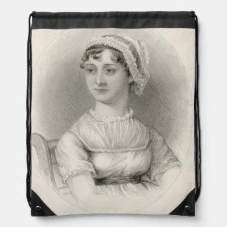 ジェーンAustenのセピア色のポートレートの網袋 ナップサック