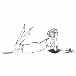 ジェーンAustenの執筆 写真彫刻(台付き)