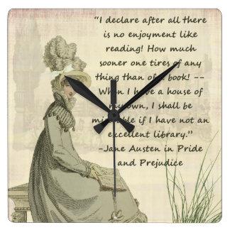 ジェーンAustenの愛書家 スクエア壁時計