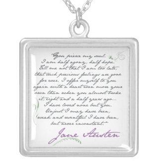 ジェーンAustenの説得の引用文#1 シルバープレートネックレス