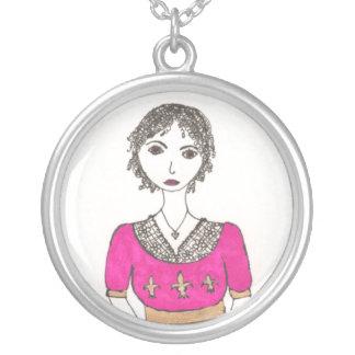 ジェーンAustenの(紋章の)フラ・ダ・リ シルバープレートネックレス