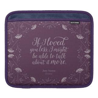 ジェーンAustenエマ紫色の花愛引用文 iPadスリーブ