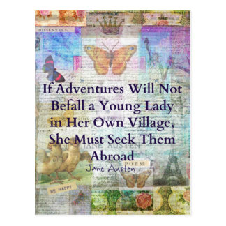 ジェーンAusten旅行冒険の引用文 ポストカード