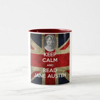 ジェーンAusten穏やか、読書保って下さい ツートーンマグカップ