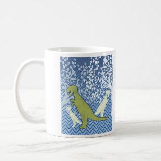 ジグザグにシェブロンの緑恐竜-青および白 コーヒーマグカップ