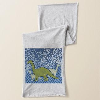 ジグザグにシェブロンの緑恐竜-青および白 スカーフ