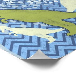ジグザグにシェブロンの緑恐竜-青および白 ポスター