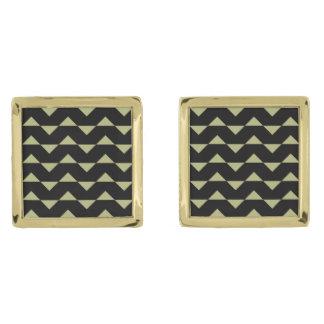 ジグザグパターンの正方形のカフスボタン ゴールド カフスボタン