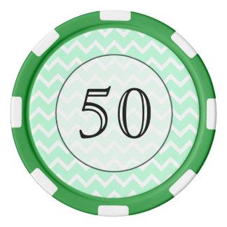 ジグザグ形のシェブロンの真新しい緑の縞 ポーカーチップ