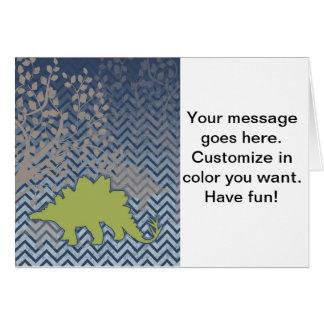 ジグザグ形のシェブロンの緑のStegosaur -青および白 カード