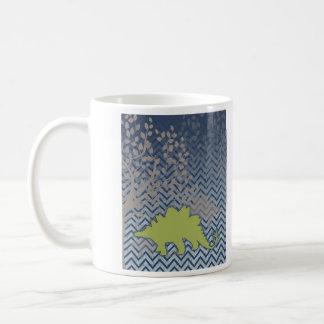 ジグザグ形のシェブロンの緑のStegosaur -青および白 コーヒーマグカップ