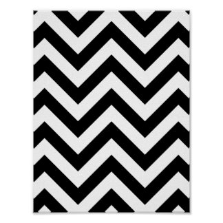 ジグザグ形のシェブロン白黒パターン ポスター
