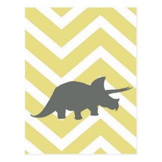 ジグザグ形のシェブロン-黄色のトリケラトプス ポストカード
