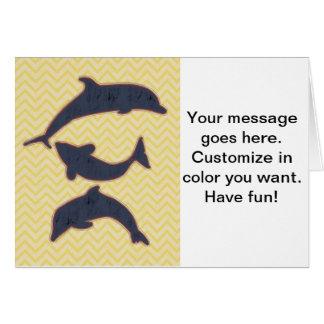 ジグザグ形のシェブロン-黄色の魚 カード