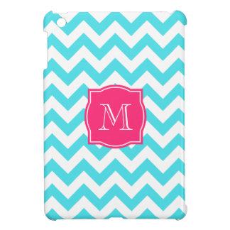 ジグザグ形のターコイズおよびピンクのカスタムなモノグラム iPad MINI カバー