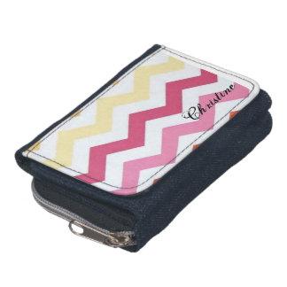 ジグザグ形のバラ色のシェブロンパターン財布