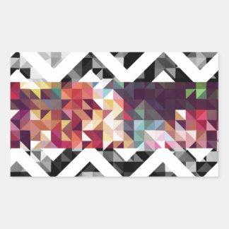 ジグザグ形の幾何学的な形 長方形シール