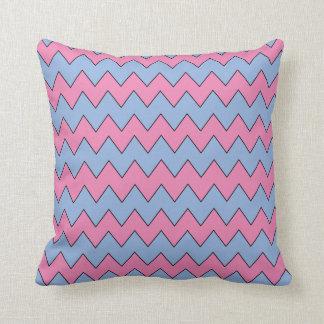 ジグザグ形の淡いブルーおよびピンクの枕 クッション