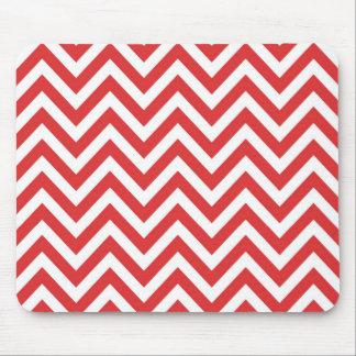 ジグザグ形ストライプので赤く白いパターンQpcのテンプレート マウスパッド