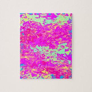 ジグソーパズルの明るい大理石模様にされた色のデザイン ジグソーパズル