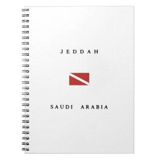ジッダサウジアラビアのスキューバ飛び込みの旗 ノートブック