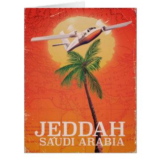 ジッダサウジアラビアのヴィンテージの地図旅行ポスター カード