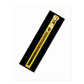 ジッパーの黒く黄色い銅30博物館Zazzle ポストカード