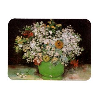 ジニアおよび花のファインアートが付いているゴッホのつぼ マグネット