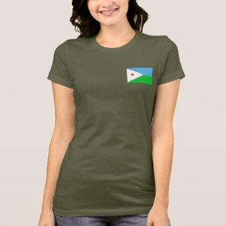 ジブチの旗および地図dkのTシャツ Tシャツ