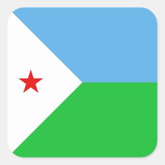 ジブチの旗のステッカー スクエアシール