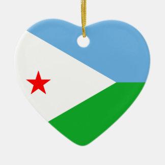 ジブチの旗のハートのオーナメント セラミックオーナメント