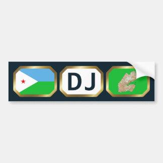 ジブチの旗の地図コードバンパーステッカー バンパーステッカー