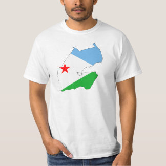 ジブチの旗の地図DJ Tシャツ