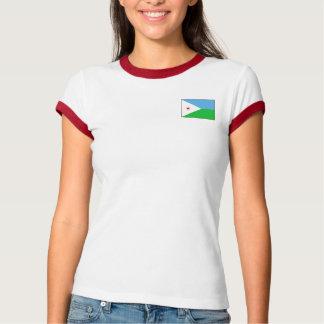 ジブチの旗 + 地図のTシャツ Tシャツ