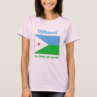 ジブチの旗 + 地図 + 文字のTシャツ Tシャツ