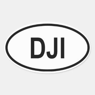 """ジブチ""""DJI """" 楕円形シール"""