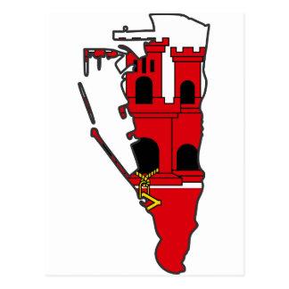 ジブラルタルの旗の地図のGI ポストカード