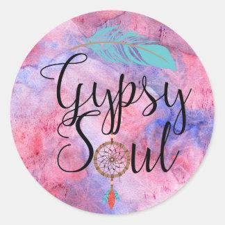 ジプシーの精神- BohoのフラワーチャイルドDreamcatcher ラウンドシール