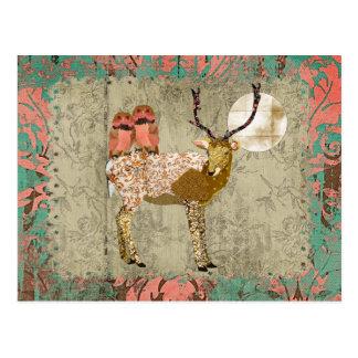 ジプシーの金ピンクのフクロウ及び華美な木びき台の月光 ポストカード
