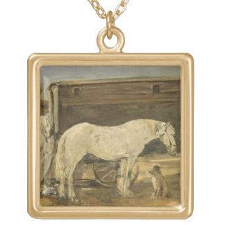 ジプシーの馬、c.1885-90 (キャンバスの油) ゴールドプレートネックレス