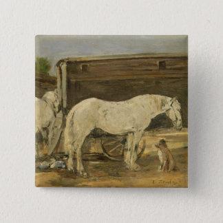ジプシーの馬、c.1885-90 (キャンバスの油) 5.1cm 正方形バッジ