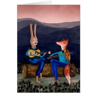 ジプシージャズ-音楽カードを遊んでいるかわいい動物 カード