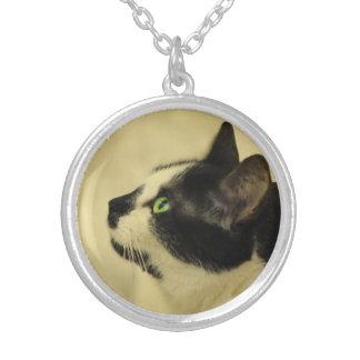 ジプシーDa Fleuky猫-タキシード猫のネックレス シルバープレートネックレス