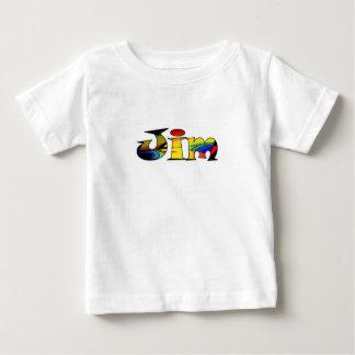 ジムの無地ので白く短い袖のTシャツ ベビーTシャツ