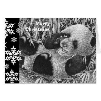 ジャイアントパンダのカブスのクリスマスカード カード