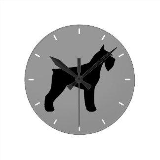 ジャイアント・シュナウザーのシルエット ラウンド壁時計
