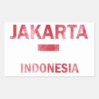 ジャカルタインドネシアのデザイン 長方形シール