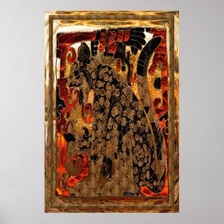 ジャガーのアステカな金ゴールド及び赤いホイルの民芸 ポスター